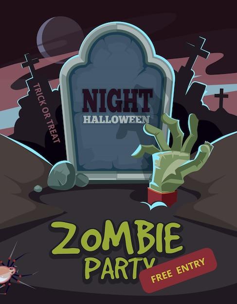 Fête de zombie. bras mort dans le sol devant la tombe. Vecteur Premium