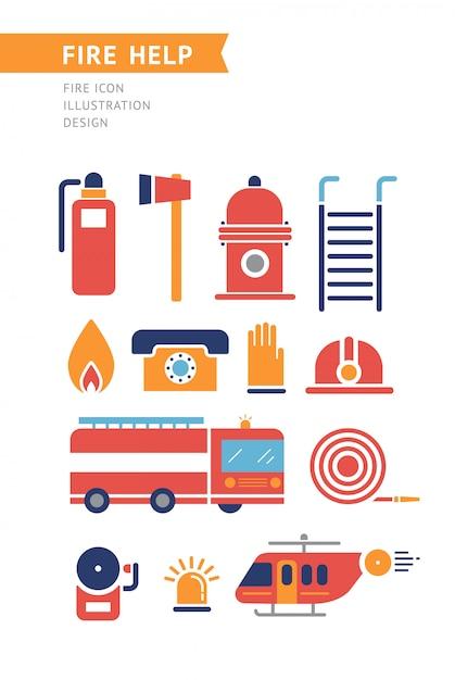 Feu aide conceptuel vector icons set. Vecteur Premium