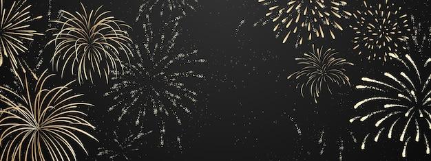 Feu D'artifice Et Fête De Célébration Sur Le Thème De Noël Bonne Année Fond D'or. Vecteur Premium