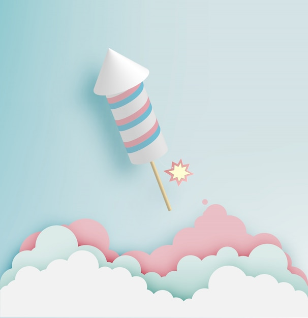 Feu d'artifice de fusée avec fond ton pastel dans l'art papier Vecteur Premium