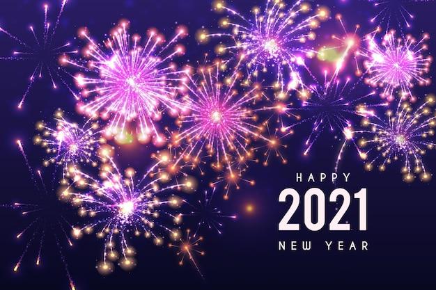 Feu D'artifice Nouvel An 2021 Vecteur Premium