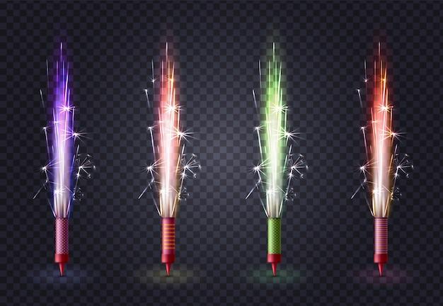 Feu D'artifice Réaliste De Couleur Sertie De Quatre Images Isolées De Bâtons De Lumière Bengal Sparkler Sur Transparent Vecteur gratuit