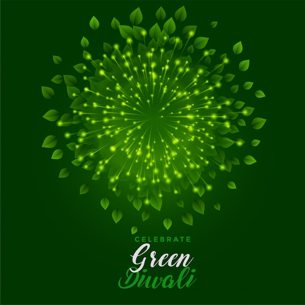 Feu d'artifice vert avec des feuilles pour une joyeuse fête de diwali Vecteur gratuit