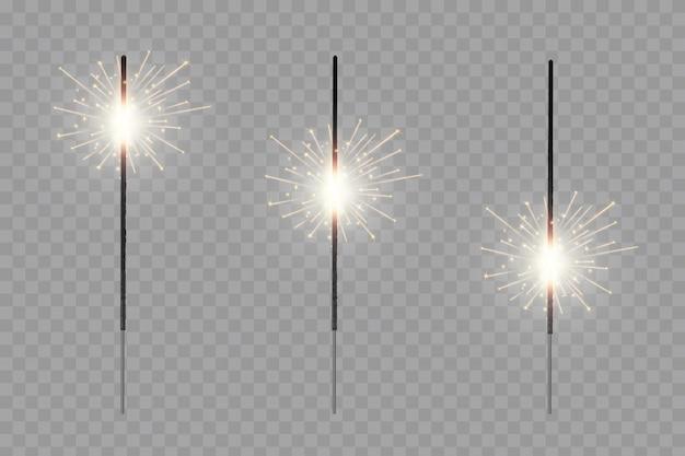 Feu de bengale de noël lueur des étincelles de feux d'artifice Vecteur Premium