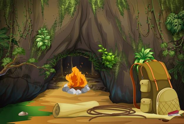 Feu De Camp Dans Les Bois Vecteur Premium