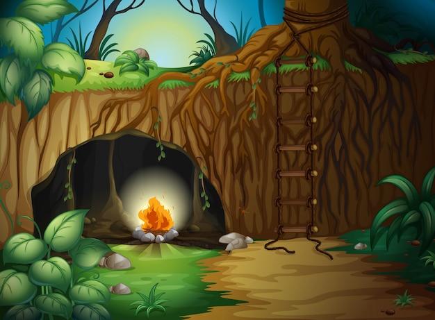 Un Feu De Camp Dans Une Grotte Vecteur Premium