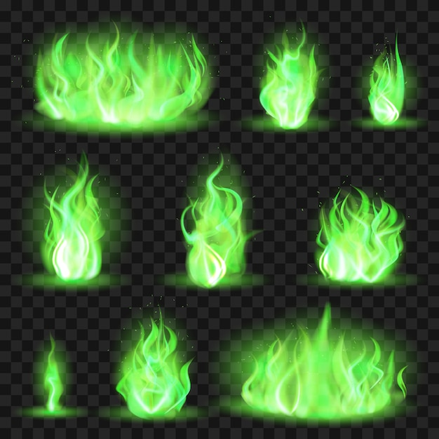 Feu Coloré Réaliste. Flamme De Feu Vert, Jeu Magique Flamme Enflammée, Couleur Brûlant Des Poussées D'icônes D'illustration De Flamme Définies. Brûlure Toxique Verte, Collection Colorée Game Blaze Vecteur Premium