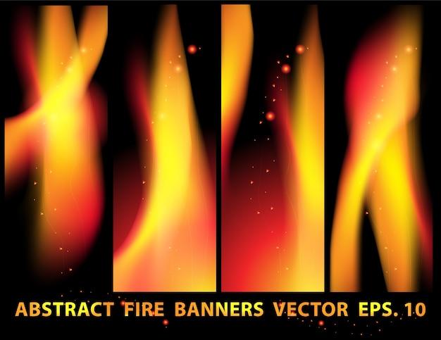 Feu flammes bannière définie vecteur Vecteur Premium