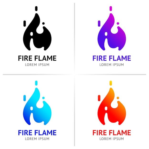 Feu flammes avec étincelles colorées set vector Vecteur Premium