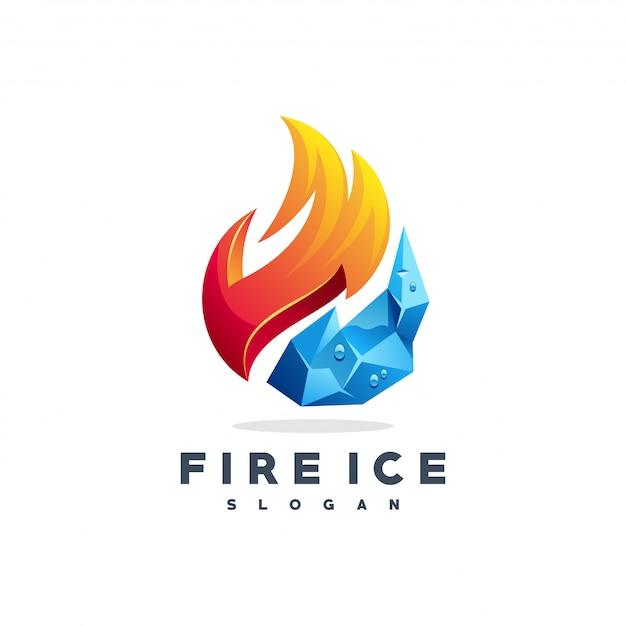 Feu logo glace vecteur Vecteur Premium