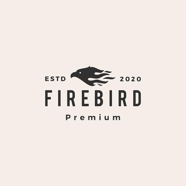 Feu Oiseau Hipster Logo Vintage Icône Illustration Vecteur Premium