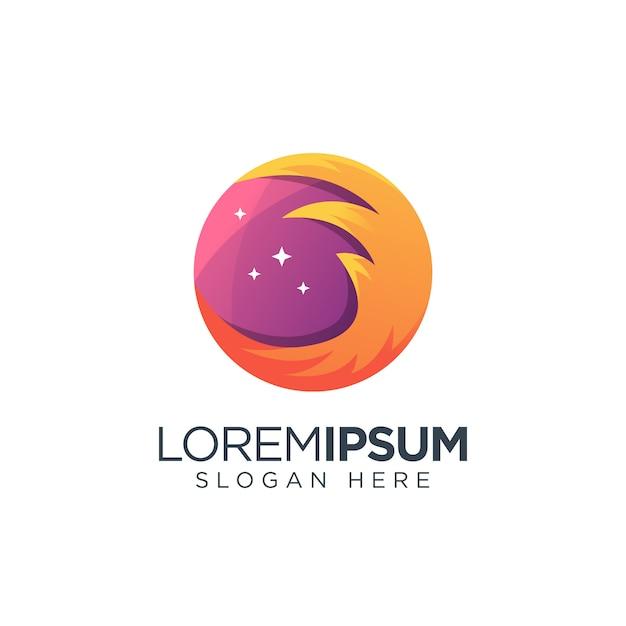 Feu planet logo galaxie de l'espace Vecteur Premium
