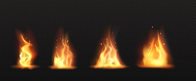Feu Réaliste, Flamme De Torche Définie Clipart Isolé Vecteur gratuit