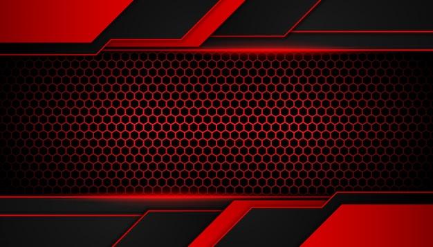 Feu rouge abstrait sur fond sombre hexagone Vecteur Premium