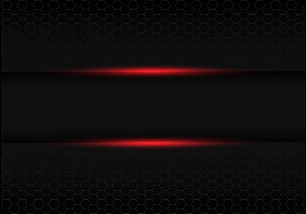Feu rouge bannière noire avec fond gris maille hexagonale. Vecteur Premium