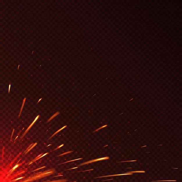 Feu rougeoyant étincelles fond de vecteur isolé. illustration d'étincelle brillante illustration flamboyante Vecteur Premium