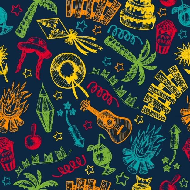 Feu de voyage scénographie motif de fond illustration jardin éléments de décoration joyeuse fête célébration nuit noire chapeau de ferme heureuse traditionnelle icône parti paille paume village bannière panier seamless saint festif maïs drapeaux fête layout populaire couronne lanterne juillet tirées brazil sao fête brazilian juin piquetage brasil festa plouc joao junina main carnaval Vecteur gratuit