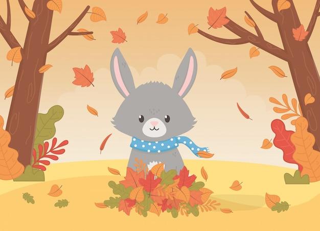 Feuillage animal mignon bonjour automne Vecteur Premium