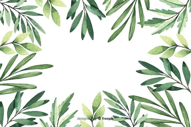 Feuillage Avec Fond Floral Aquarelle Espace Copie Vecteur gratuit