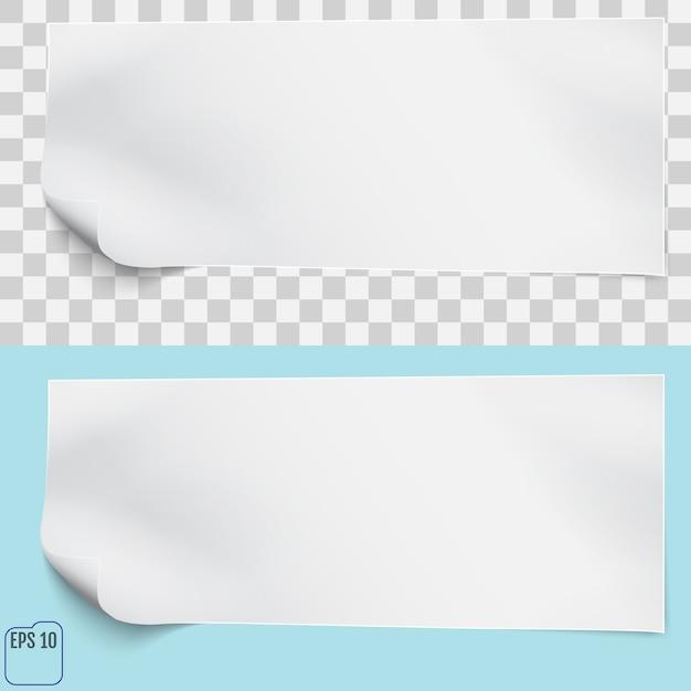 Feuille blanche sur fond bleu et transparent Vecteur Premium