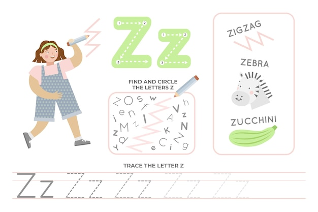 Feuille De Calcul Alphabétique Avec La Lettre Z Vecteur Premium