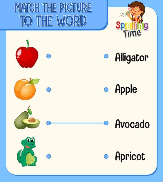 Feuille De Calcul De Correspondance Mot à Image Pour Les Enfants Vecteur gratuit