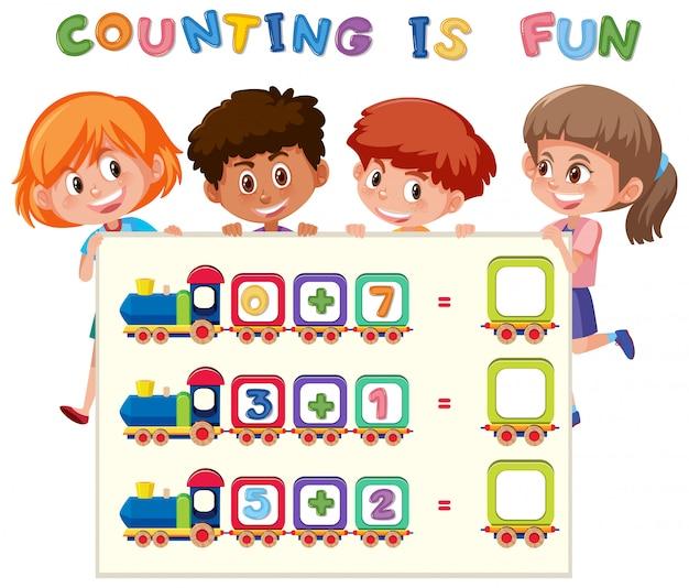 Feuille de calcul du nombre de maths Vecteur Premium