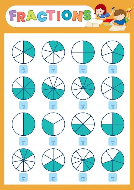 Une feuille de calcul de fraction mathématique Vecteur gratuit