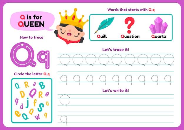 Feuille De Calcul Lettre Q Avec Articles Et Reine Vecteur gratuit