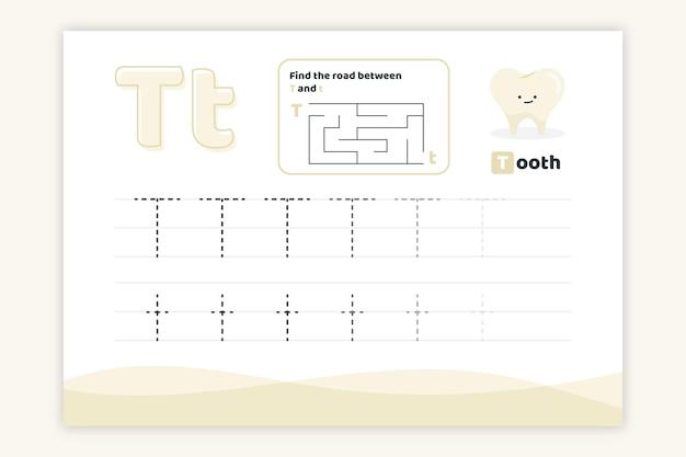 Feuille De Calcul Lettre T Avec Dent Vecteur gratuit