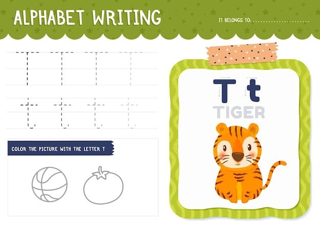 Feuille De Calcul Lettre T Avec Tigre Vecteur gratuit