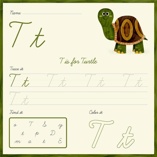 Feuille De Calcul Lettre T Avec Tortue Vecteur gratuit