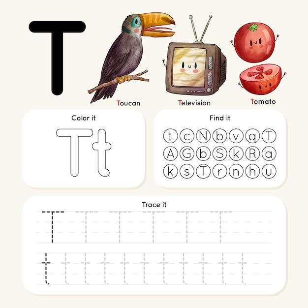 Feuille De Calcul Lettre T Avec Toucan, Télévision, Tomate Vecteur gratuit