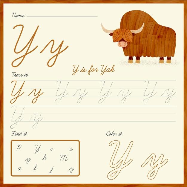 Feuille De Calcul Lettre Y Avec Yak Vecteur Premium