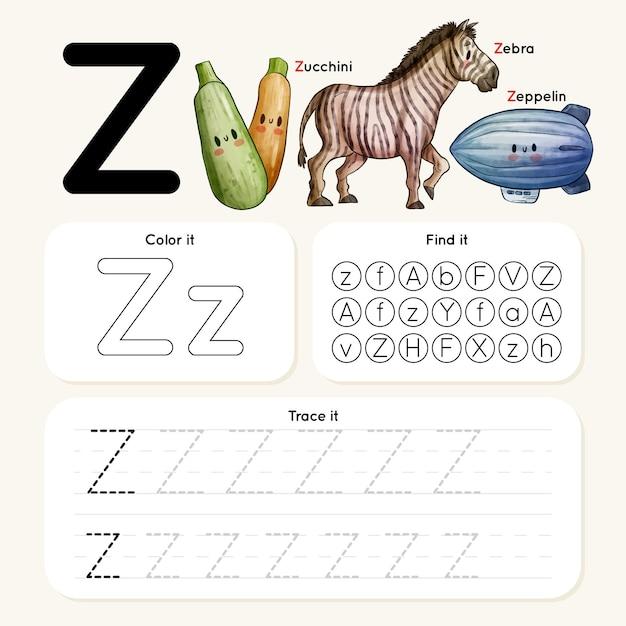 Feuille De Calcul Lettre Z Avec Zèbre, Zeppelin, Courgettes Vecteur Premium