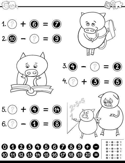 Feuille De Calcul Mathématique Pour La Coloration Vecteur Premium