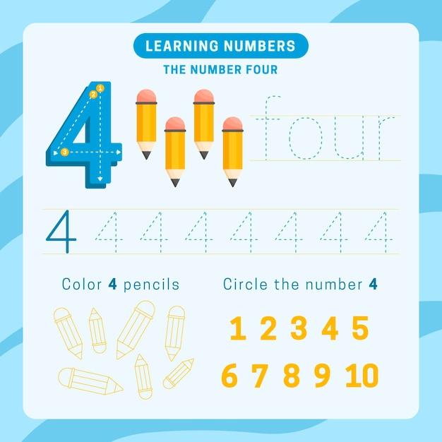 Feuille De Calcul Numéro 4 Avec Des Crayons Vecteur gratuit