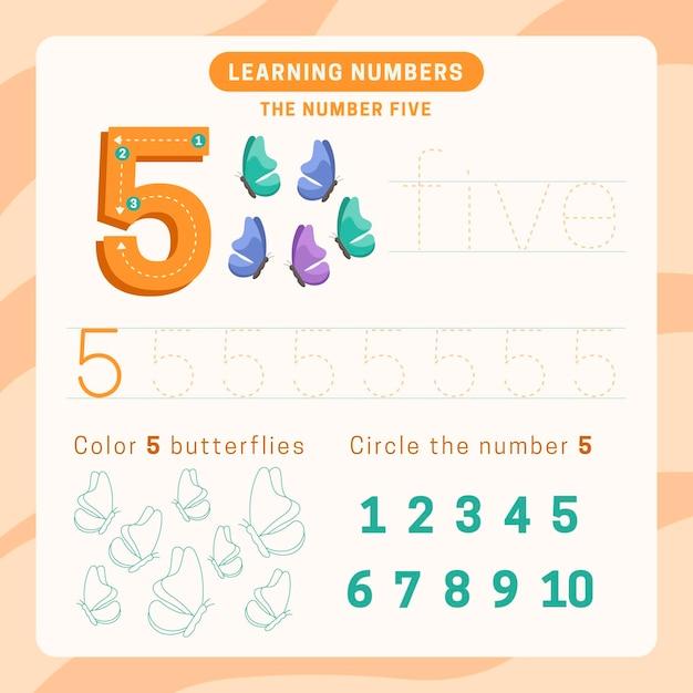 Feuille De Calcul Numéro 5 Avec Des Papillons Vecteur gratuit