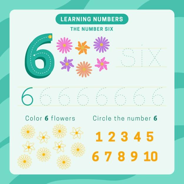 Feuille De Calcul Numéro 6 Avec Des Fleurs Vecteur gratuit