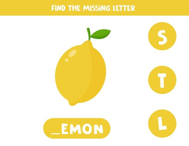 Feuille De Calcul D'orthographe Pour Les Enfants Avec Du Citron Jaune De Dessin Animé Mignon Vecteur Premium
