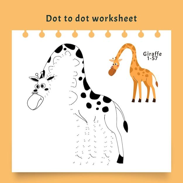 Feuille De Calcul Point à Point Avec Girafe Vecteur gratuit
