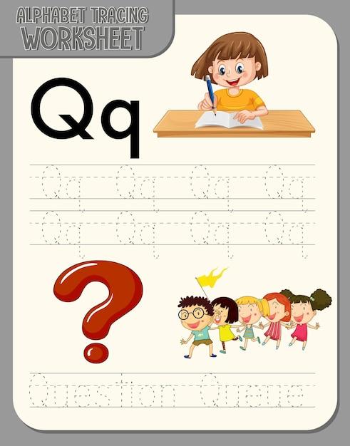 Feuille De Calcul De Traçage Alphabet Avec La Lettre Q Et Q Vecteur gratuit
