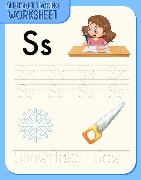 Feuille De Calcul De Traçage Alphabet Avec La Lettre S Et S Vecteur gratuit