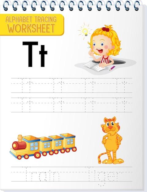 Feuille De Calcul De Traçage Alphabet Avec La Lettre T Et T Vecteur gratuit