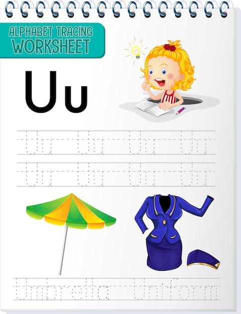 Feuille De Calcul De Traçage Alphabet Avec La Lettre U Et U Vecteur gratuit