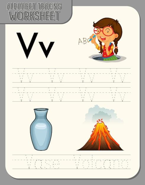 Feuille De Calcul De Traçage Alphabet Avec La Lettre V Et V Vecteur gratuit