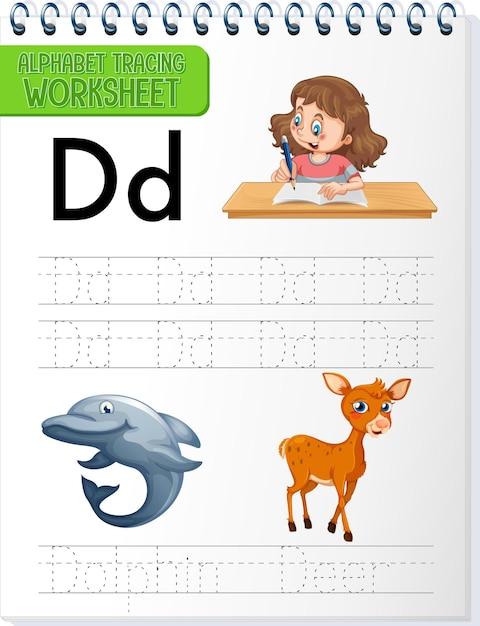 Feuille De Calcul De Traçage Alphabet Avec Lettre Et Vocabulaire Vecteur gratuit