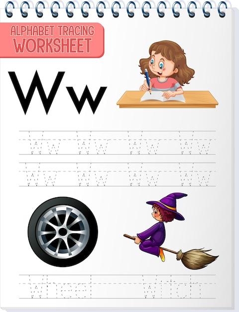 Feuille De Calcul De Traçage Alphabet Avec La Lettre W Et W Vecteur gratuit