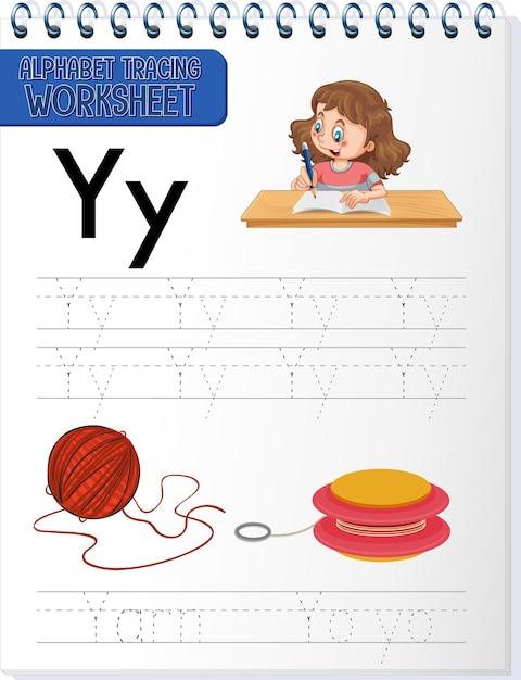 Feuille De Calcul De Traçage Alphabet Avec Les Lettres Y Et Y Vecteur gratuit