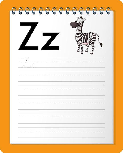 Feuille De Calcul De Traçage Alphabet Avec Les Lettres Z Et Z Vecteur gratuit